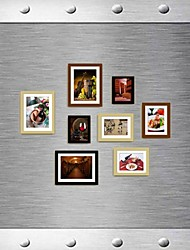 Black Brown Natural Color Photo Wall Frame Collection Set of 8