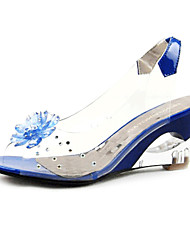 Women's Shoes Sling Back Clear & Patent Leather Wedge Sandals More Colors Available