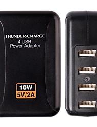 Haute Qualité 4 Charge USB Adapter avec US / EU / AU / UK Plug (couleurs assorties)