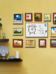 Frame Collection Mixta Foto Brown Natural Set de 11 con un DIY Deja un reloj Mensaje