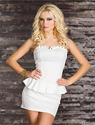Girls Night Women's Color Block White Dresses , Sexy / Casual / Party Mid Rise Sleeveless