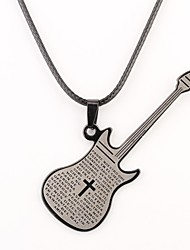 Personalized Gift Guitar Shaped Engraved Necklace
