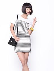 Zoely Frauen-Sommer-Bonbon-Pan-Kragen Streifen H-Line Kleid 101121L035