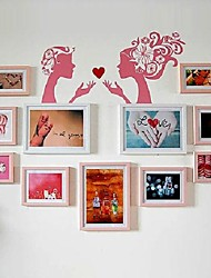 Natural White Mixed Color Photo Frame Collection Set of 11 with Women Wall Sticker
