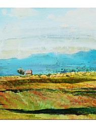 Hand Painted Oil Painting Landscape Spring Field with Stretched Frame