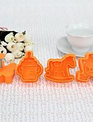Plástico 3D El bebé alrededor de la galleta del molde Set de 4 piezas