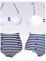 moda azul marino y blanco del traje de baño de altura de la cintura de las mujeres