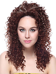 100% Kanekalon Synthetic Screw Curly Medium Brown peruca