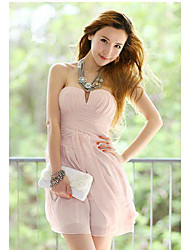 Women's Dress,Solid Mini Sleeveless Pink Summer