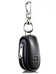 Unisex With Zipper Closure Genuine Leather Car Key Case Tag Chain Holder Bag
