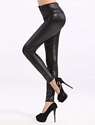 Women's Vogue Black High Waist Faux Leather Zip Leggings
