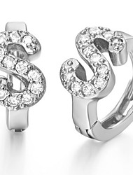 """Special Silver And Gold Plated With Cubic Zirconia Letter """"S"""" Women's Earring(More Colors)"""