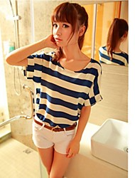 Women's Striped Blue Blouse , Round Neck Short Sleeve
