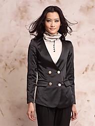 Noir croisé style ajusté de Z-Voir Femmes Costumes Manteau