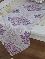 Silver  Riche Jacquard Purple Table Runner