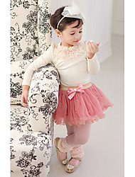 Girl's Bowknot Puff Sleeve Pearl Sweet Clothing Sets