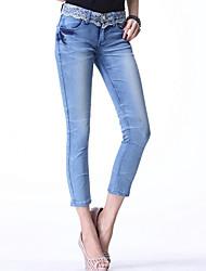 Duolabana Casual Skinny dentelle Slim pantalon 3/4 (Bleu clair)