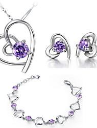 Clássico Zirconia cúbico irregular Set Jóias Pierce mulheres do coração de prata banhado (colar, brincos, pulseira) (branco, roxo)