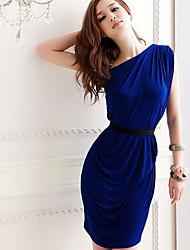 Mujeres CoolCube Moda Un hombro de cintura alta de la envoltura Vestido ajustado con cinturón