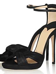 Zapatos de mujer - Tacón Stiletto - Tacones - Sandalias - Oficina y Trabajo / Vestido / Casual - Satén - Negro