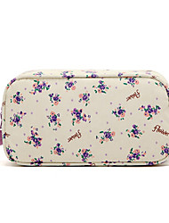 Quadrate Fresh Small Purple Flower Pattern with Fluff Balls Make up/Cosmetic Bag Cosmetics Storage