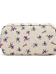 Padrão Flor Roxo Quadrate fresco pequeno com Fluff Balls Make up / Cosmetic Bag Cosméticos Armazenamento