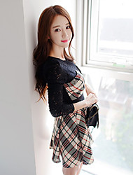 Women's Plaid Multi-color Dress , Work/Lace Round Neck Long Sleeve Pleated/Lace