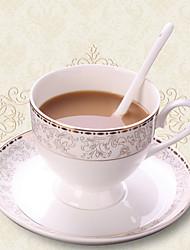 European Coffee Mug with Plate, Set of 2 Porcelain 9oz
