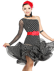 Dancewear Women's Polka Dots Viscose Tulle Latin Dance Dress