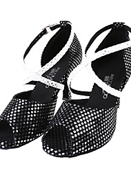 Women's Satin Ankle Strap Sandals Latin Dance Shoes
