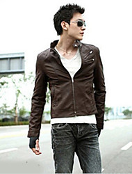 Men's Long Sleeve Jacket , Faux Leather Casual