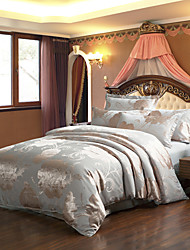 Manmei Tencel Cotton Jacquard 4 Pcs Bedding(Duvet Cover*1,Sheet*1,And Pillowcase*2(TSM06)