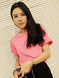 T-shirt Da donna Casual Semplice / Moda città Per tutte le stagioni,Tinta unita Rotonda Altro Rosa / Bianco / Nero / Giallo Manica corta