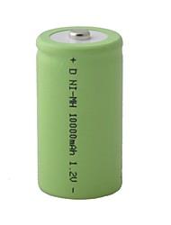 D Ni-MH rechargeable 1,2 V 10000mAh Batterie - vert