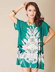 Guangzhou Boutique Frauen F5001 Retro-Muster Rundhals Kurzarm Kleid lose große Yards (Schneiderei Random)