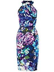 Women's Sexy / Print Print Sheath Dress , Halter Knee-length Polyester