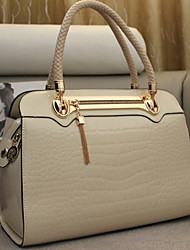 Smiling Butterfly Fashion Patent Leather Crocodie Pattern Tote(Cream)