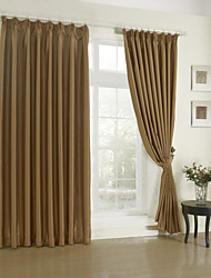 Modern Two Panels Solid Living Room Polyester Blackout Curtains Drapes Brown
