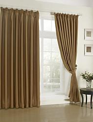 Современные двух панелей твердые гостиная полиэстер шторы шторы затемненные коричневый