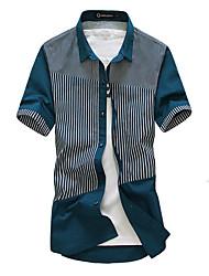 Men's Striped Casual Shirt,Cotton Short Sleeve Blue / Yellow
