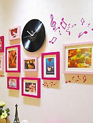 Red Color Photo Frame Collection Set of 9 with a Black Disc Clock and Music Wall Sticker