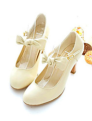 Leatherette Women's Chunky Heel Mary Jane Pumps/Heels Shoes with Bowknot