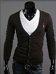 Normal Cardigan Homme Décontracté / Quotidien TravailCouleur Pleine Imprimé Manches Longues Coton Polyester