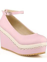 cuero de la PU de 6 cm de plataformas clásico Lolita zapatos