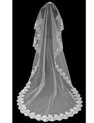 Wedding Veil One-tier Cathedral Veils Lace Applique Edge 118.11 in (300cm) Tulle White / Black / Red