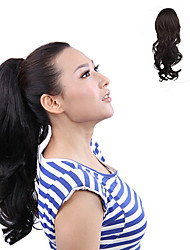 Japanese Kanekalon Fiber Synthetic Clip in Black Horsetail Ponytail Curly Hairpiece