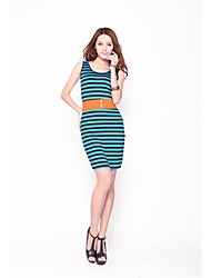 Zoely Women's Sexy Round Neck Contrast Color Stripe Sheath Bow Knee Length Exclude Belt Dress 101121L111