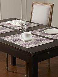 Set mit 4 Lila service Stripe Polyester Tischsets