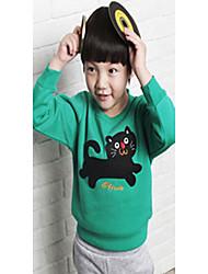Boy's Cat Print Cartoon Ronde Collor sweatshirt