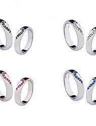 (2Pcs)Sweet Silver Rhinestone Couple Rings(Size 9 For Men,Size 8 For Women)